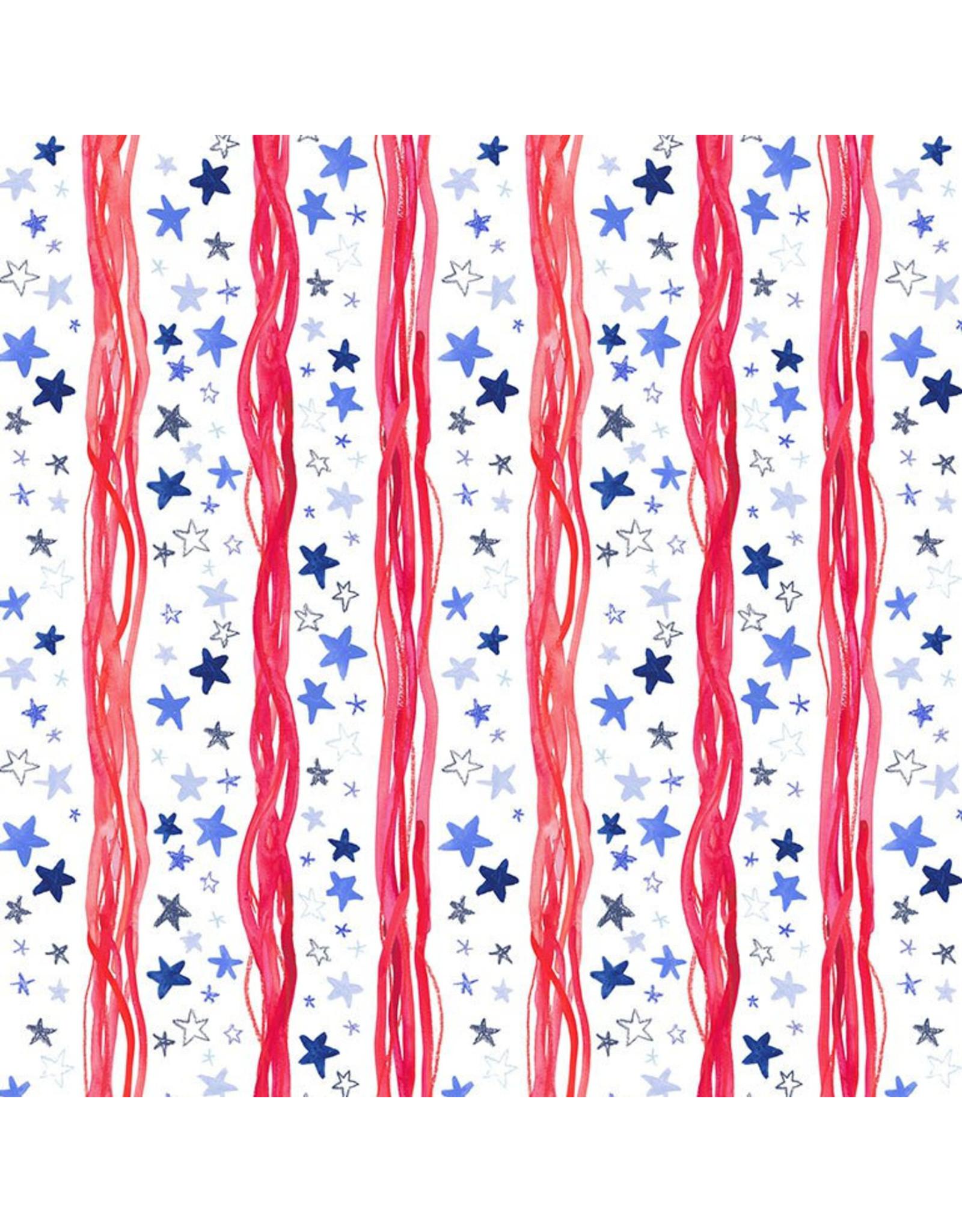 Dear Stella American Summer, Stars & Stripes in White, Fabric Half-Yards