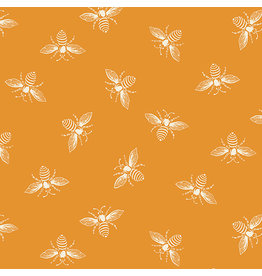 Renee Nanneman French Bee in Orange Peel, Fabric Half-Yards