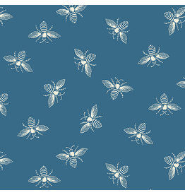 Renee Nanneman French Bee in Ocean, Fabric Half-Yards