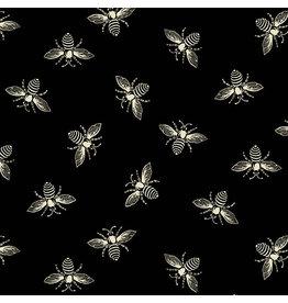 Renee Nanneman French Bee in Black Ink, Fabric Half-Yards