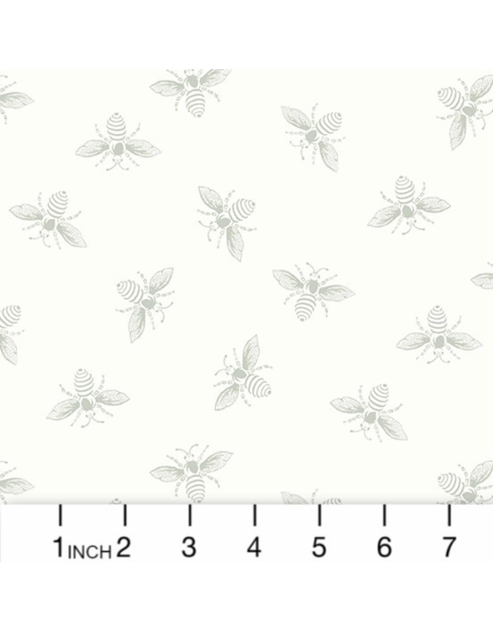Renee Nanneman French Bee in White Wisp, Fabric Half-Yards