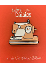 PD Enamel Pin - Sewing Machine with Rubber Clasp Clutch