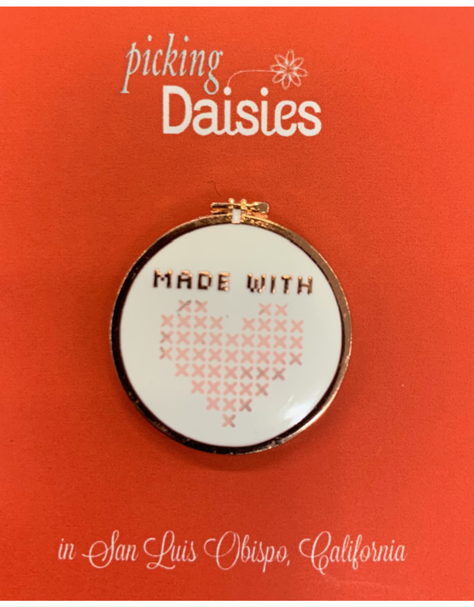PD Enamel Pin - Made with Love,  with Magnetic Fastener