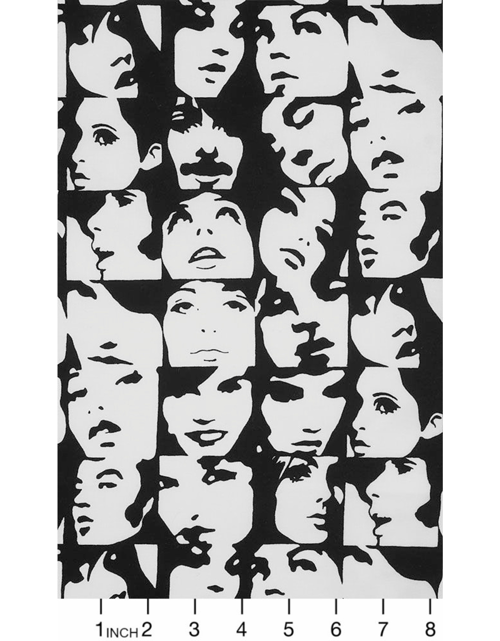 Alexander Henry Fabrics Nicole's Prints, In Crowd in B+W, Fabric Half-Yards