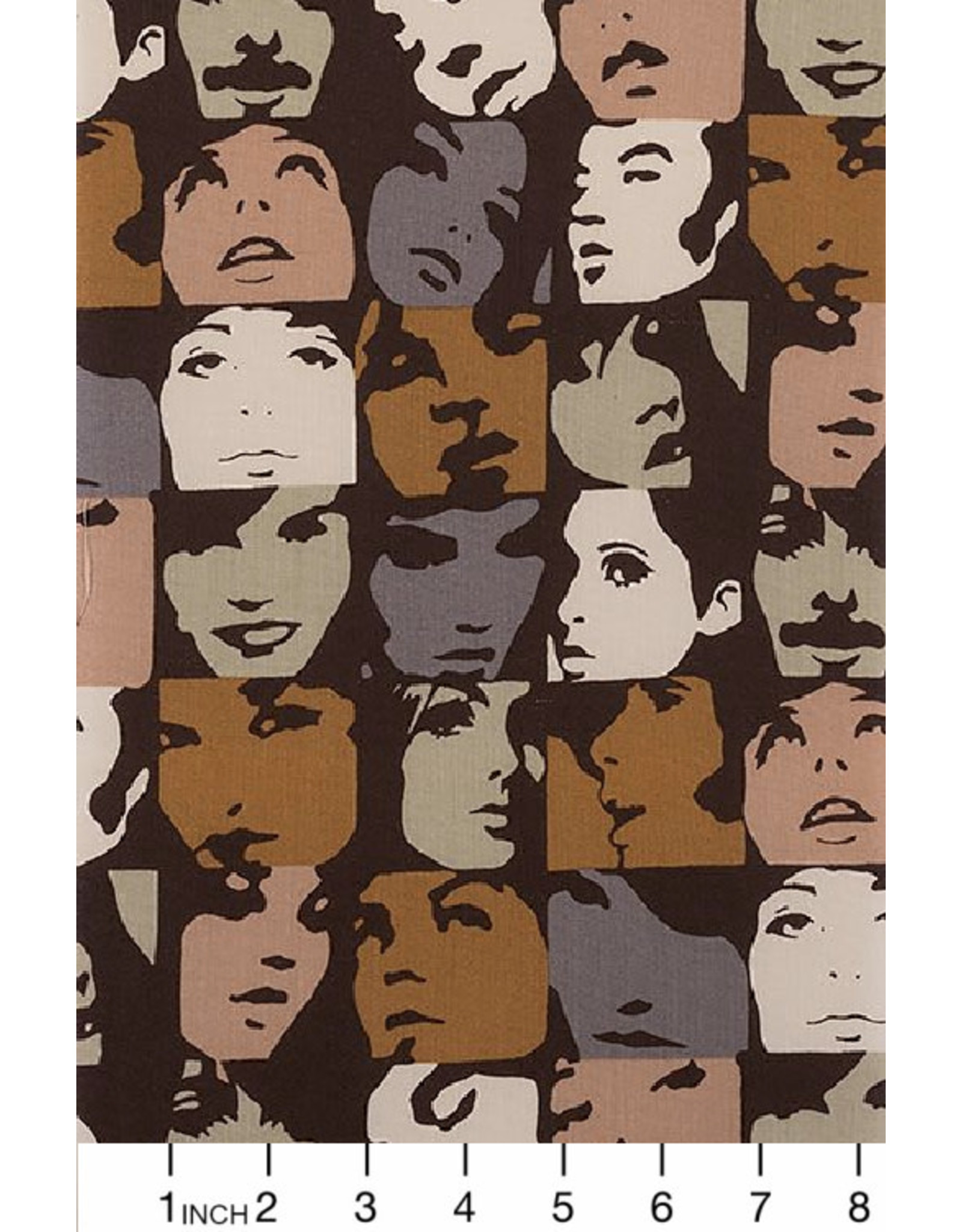 Alexander Henry Fabrics Nicole's Prints, In Crowd in Caramel, Fabric Half-Yards