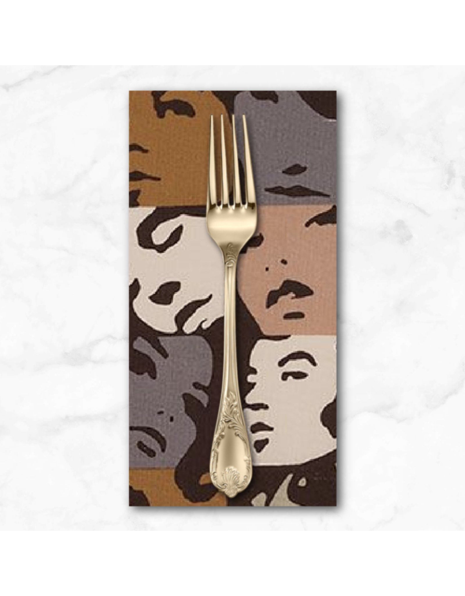 PD's Alexander Henry Collection Nicole's Prints, In Crowd in Caramel, Dinner Napkin