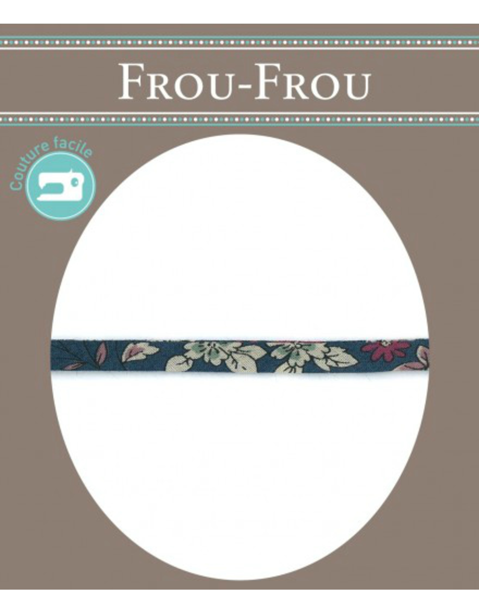 Frou-Frou, France Spaghetti Strap Cord, Fleuri by Frou-Frou in Navy, sold by the 1/2 yard
