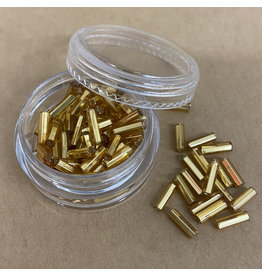PD Glass Bugle Beads, Gold