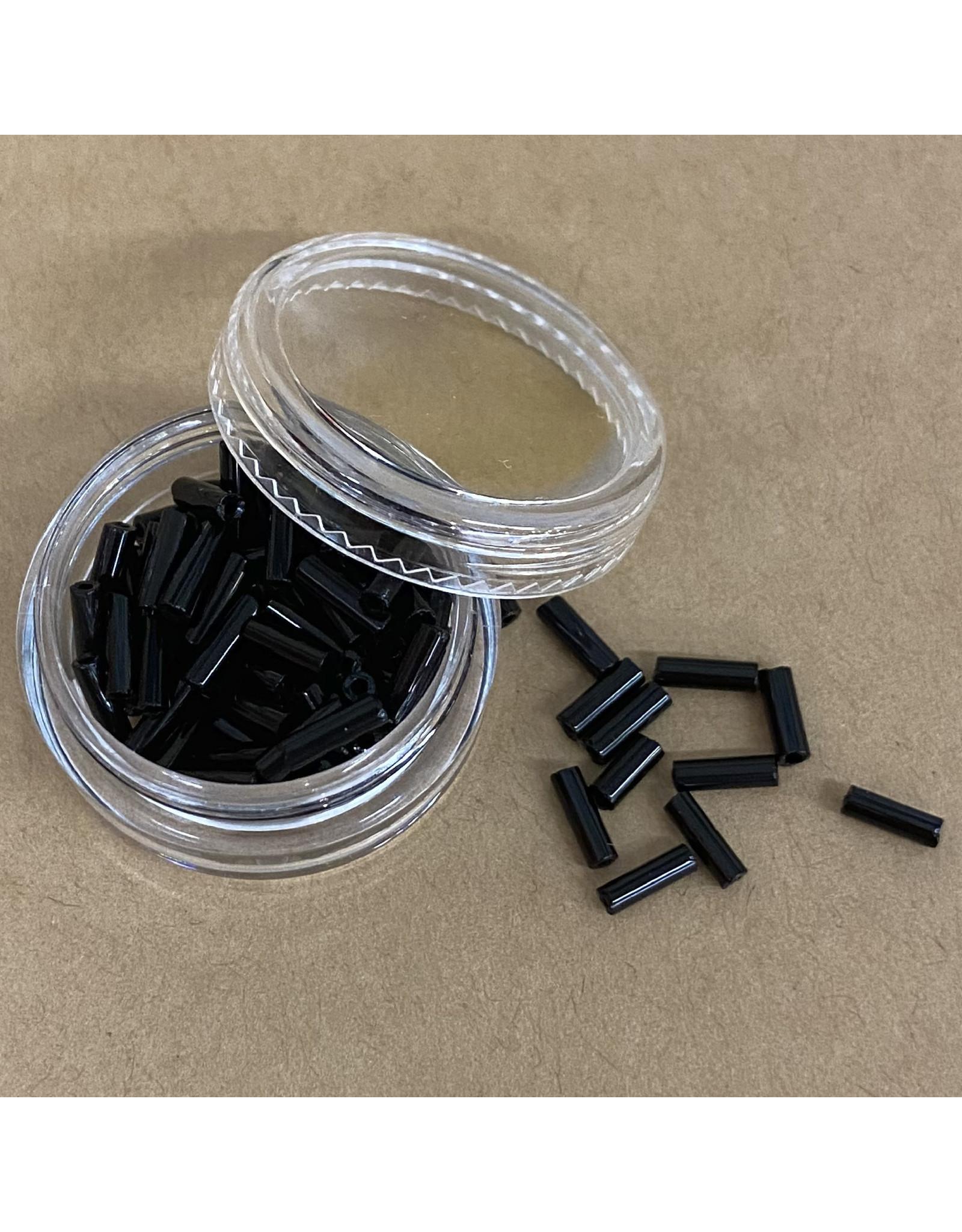 PD Glass Bugle Beads, Black