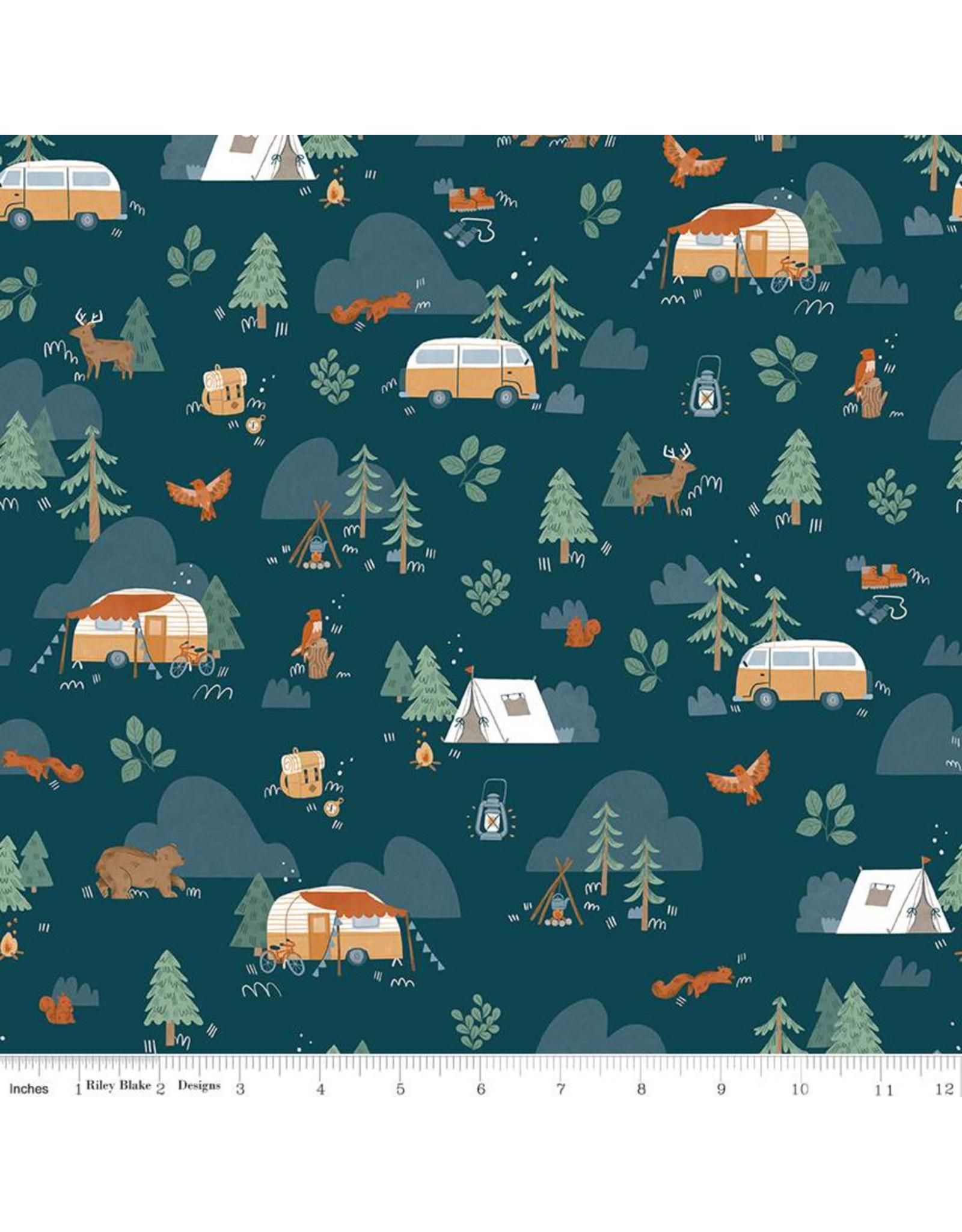 Riley Blake Fabrics Camp Woodland, Camping in Navy, Fabric Half-Yards