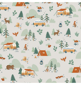 Riley Blake Fabrics Camp Woodland, Camping in Off White, Fabric Half-Yards