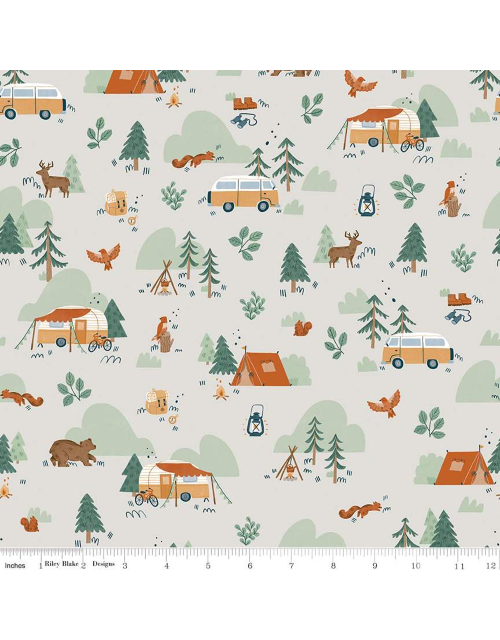 Riley Blake Fabrics Camp Woodland, Camping in Off White, Fabric Half-Yards