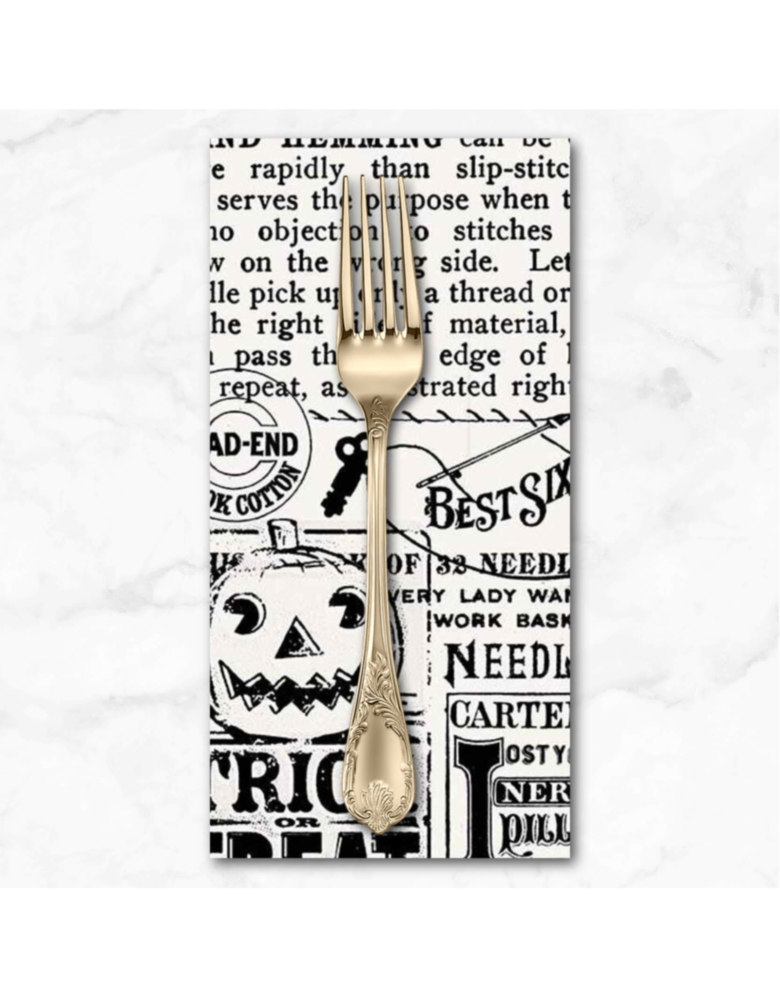 PD's J Wecker Frisch Collection Old Made, Text in Off White, Dinner Napkin