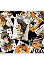 J. Wecker Frisch Old Made, Card Toss in Black, Fabric Half-Yards