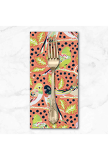 PD's Kathy Doughty Collection Earth Made Paradise, Budgie Boogie in Coral, Dinner Napkin