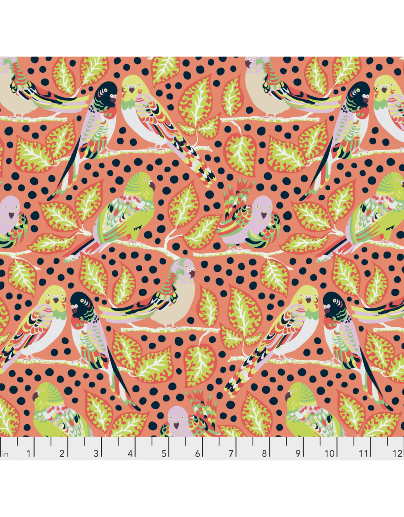 Kathy Doughty Earth Made Paradise, Budgie Boogie in Coral, Fabric Half-Yards