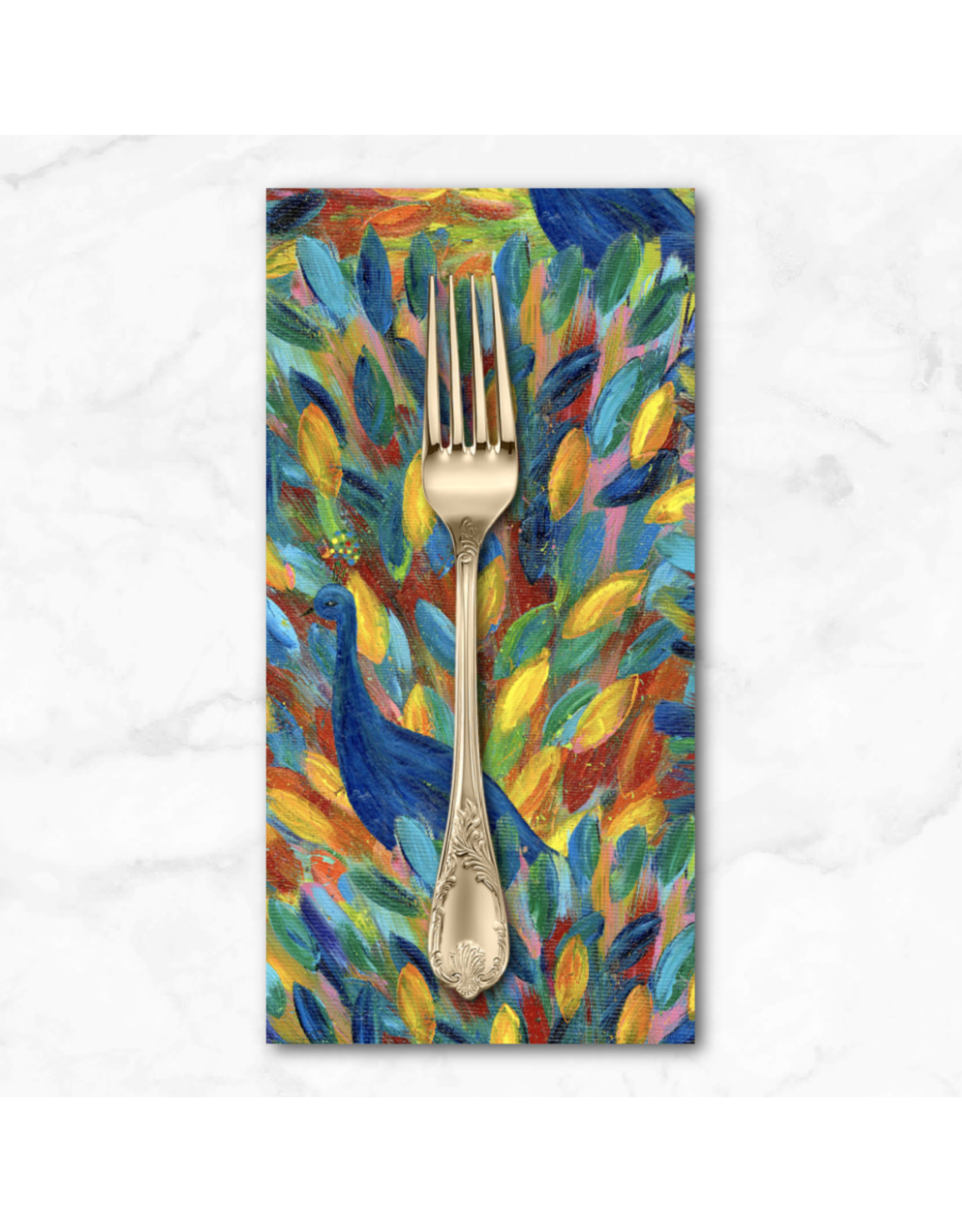 PD'S Free Spirit Collection Pizzazz, Peacock Party in Multi, Dinner Napkin