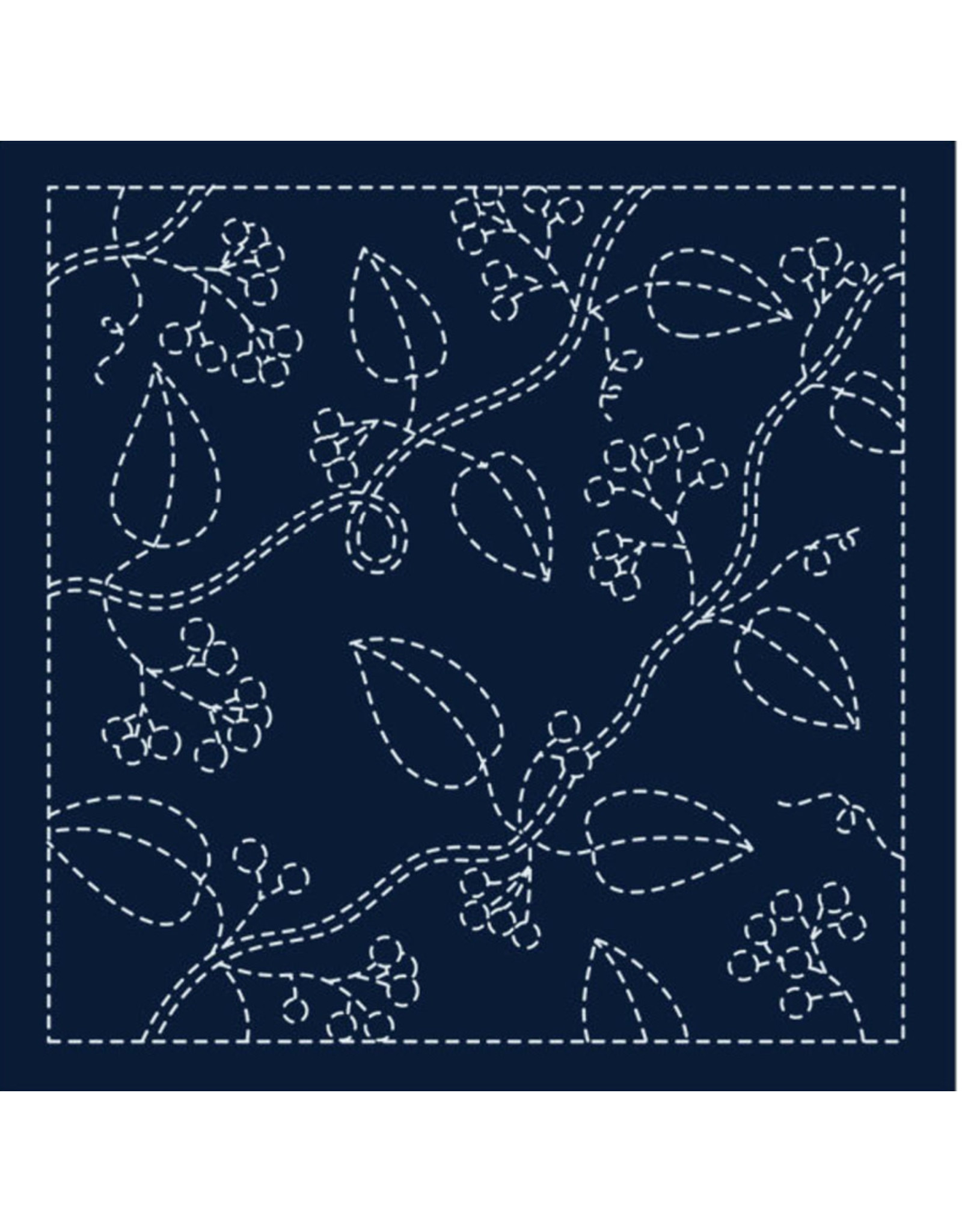 Japan Import Sashiko Cloth, Hana-Fukin (Nuts) in Navy H-213