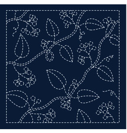Japan Import Sashiko Cloth, Nuts in Navy H-213