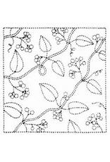 Japan Import Sashiko Cloth, Hana-Fukin (Nuts) in White No.13