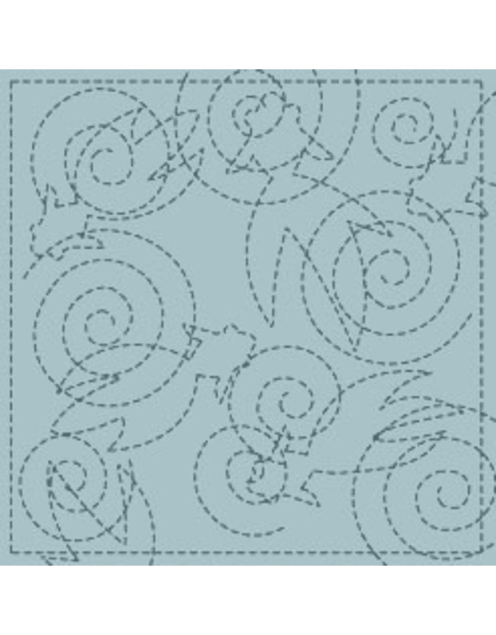 Japan Import Sashiko Cloth, Goldfish in Turquoise No.39