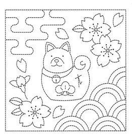Japan Import Sashiko Cloth, Dog ad Sakura in White,  H-1044