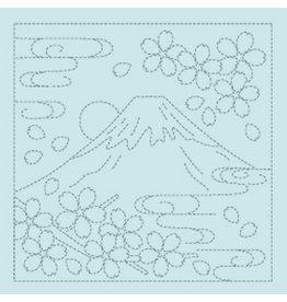 Japan Import Sashiko Cloth, Mt. Fuji in Turquoise H-4012