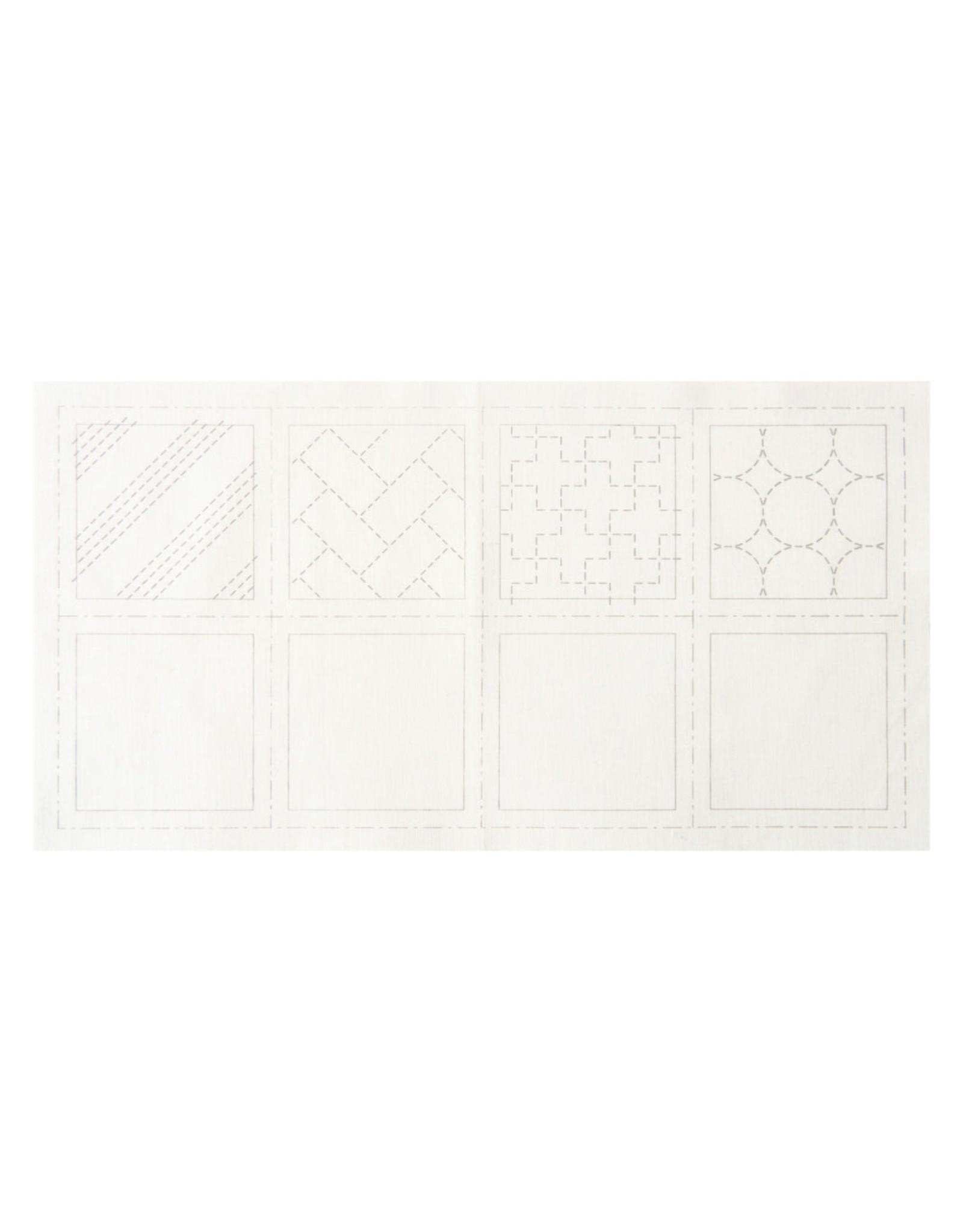 Japan Import Sashiko Cloth, Makes 4 Coasters in White