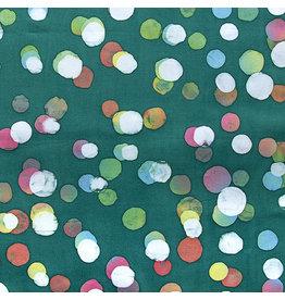 Northcott Color Me Banyan: Cotton Batik, Dot Necessities in Forest Green