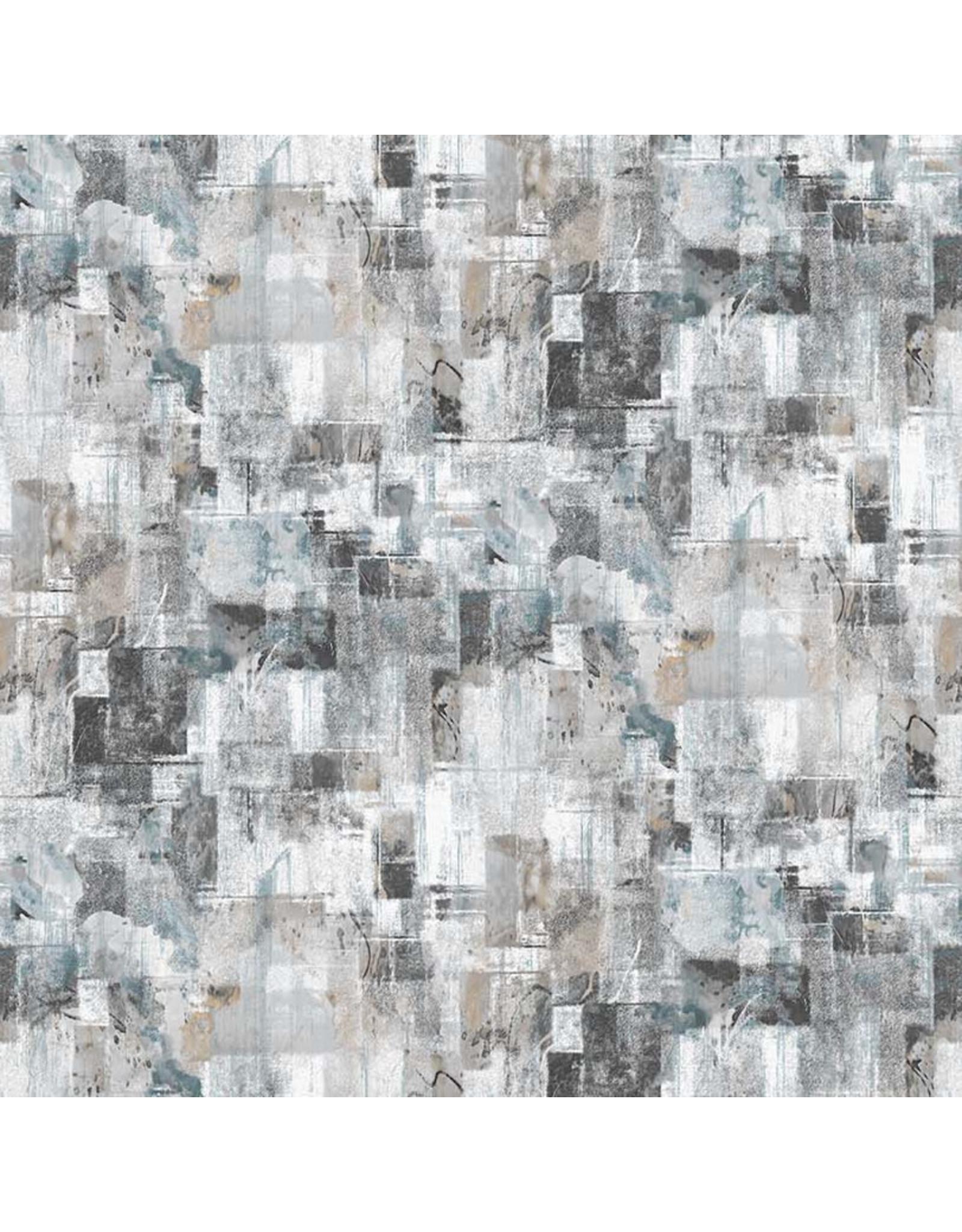 Northcott City Lights, Large Textured Blocks in Light Gray, Fabric Half-Yards