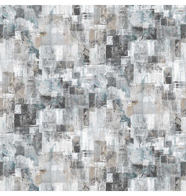 Northcott City Lights, Large Textured Blocks in Light Gray, Fabric Half-Yards