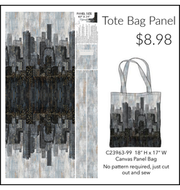 "Northcott City Lights, Tote Bag Panel, 24"" x 44"" on Cotton Canvas"