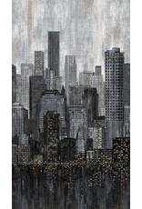 Northcott City Lights, City Skyline Border in Black, Fabric Half-Yards