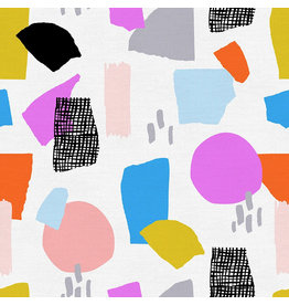 Paintbrush Studio Organic Double Gauze, Abstract Collage, Freehand Geometric in Bright, Fabric Half-Yards
