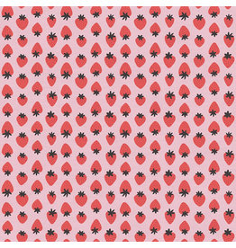 Paintbrush Studio ARRIVES EARLY MAY-Organic Double Gauze, Fruity, Strawberries in Light Pink and Red, Fabric Half-Yards