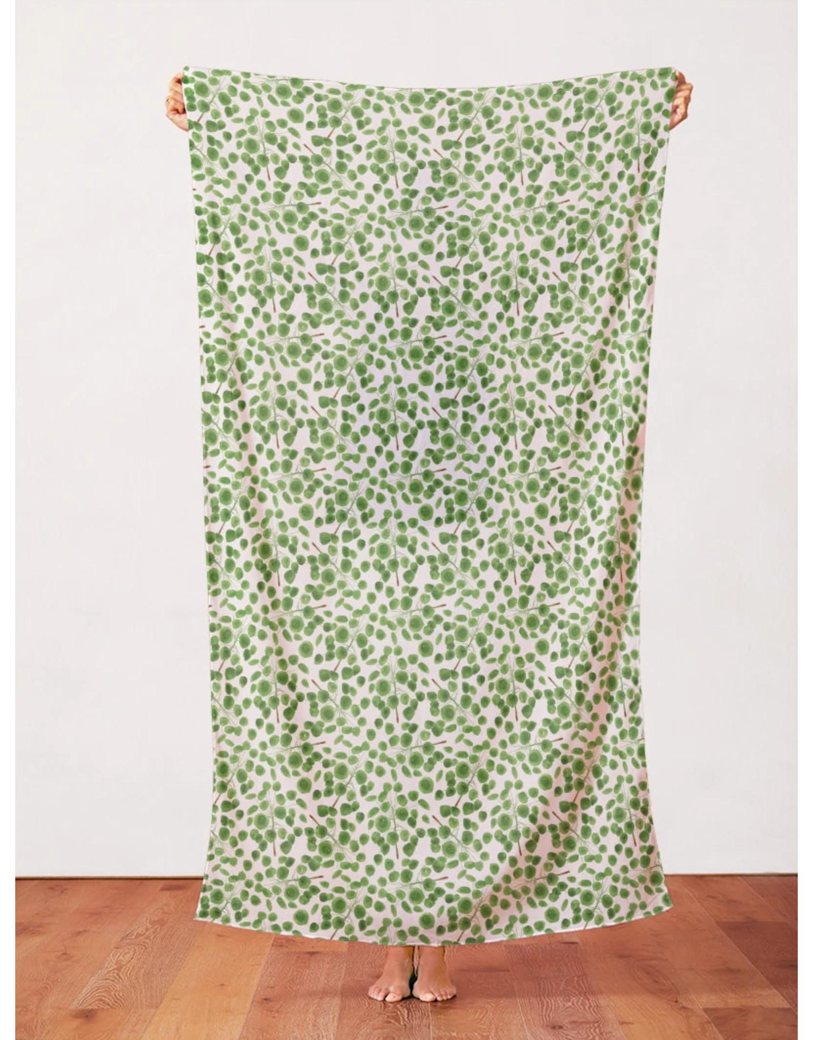 Paintbrush Studio Organic Double Gauze, Modern Botanicals, Pilea in Green Fabric Half-Yards