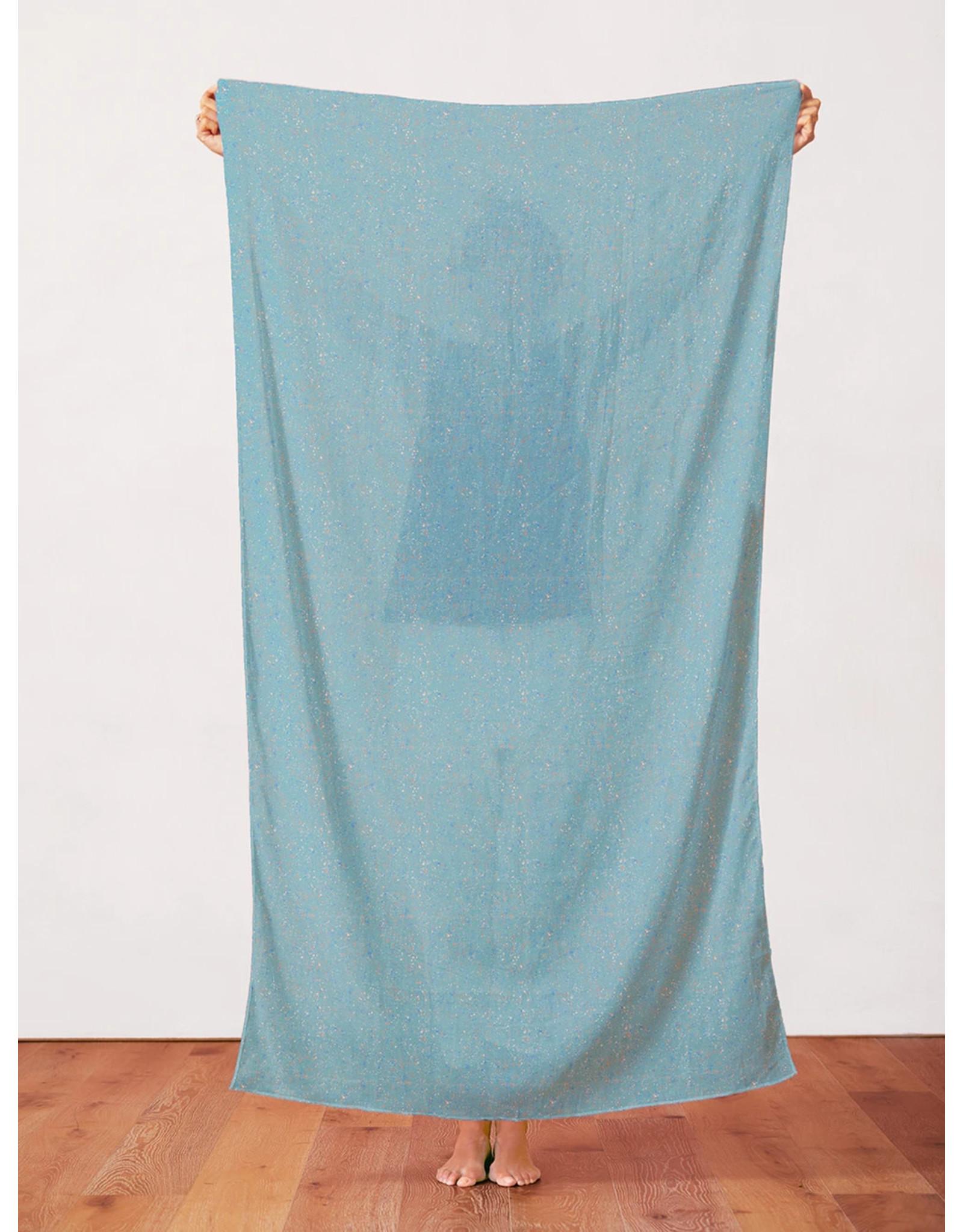 Paintbrush Studio Organic Double Gauze, Rainbow Dust in Granite Teal, Fabric Half-Yards