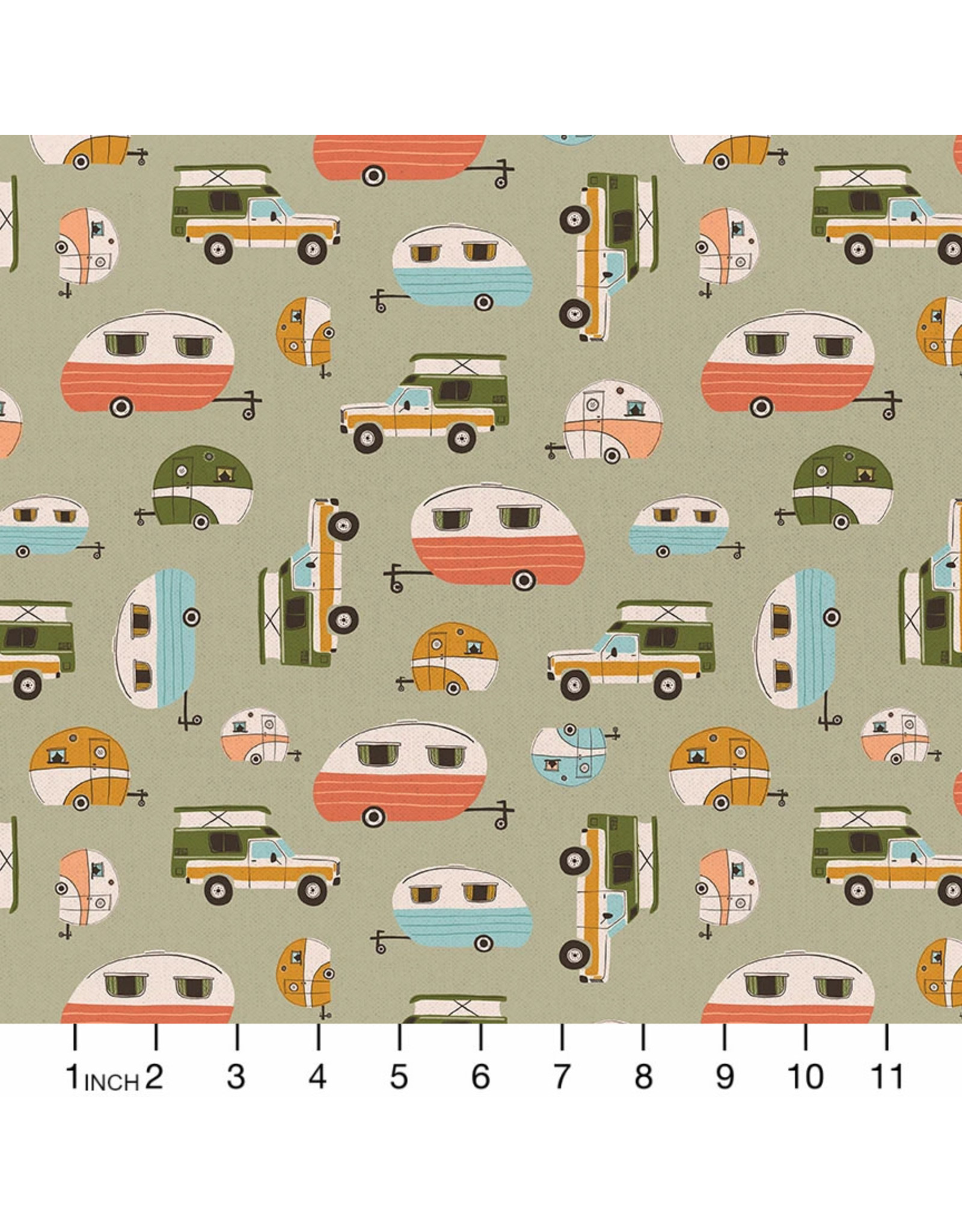 PD's Paintbrush Studio Collection Vintage Camping, Campers in Sage, Dinner Napkin
