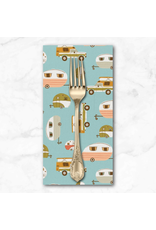 PD's Paintbrush Studio Collection BACKORDERED-Vintage Camping, Campers in Teal, Dinner Napkin