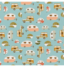 Paintbrush Studio ARRIVING EARLY MAY-Vintage Camping, Campers in Teal, Fabric Half-Yards