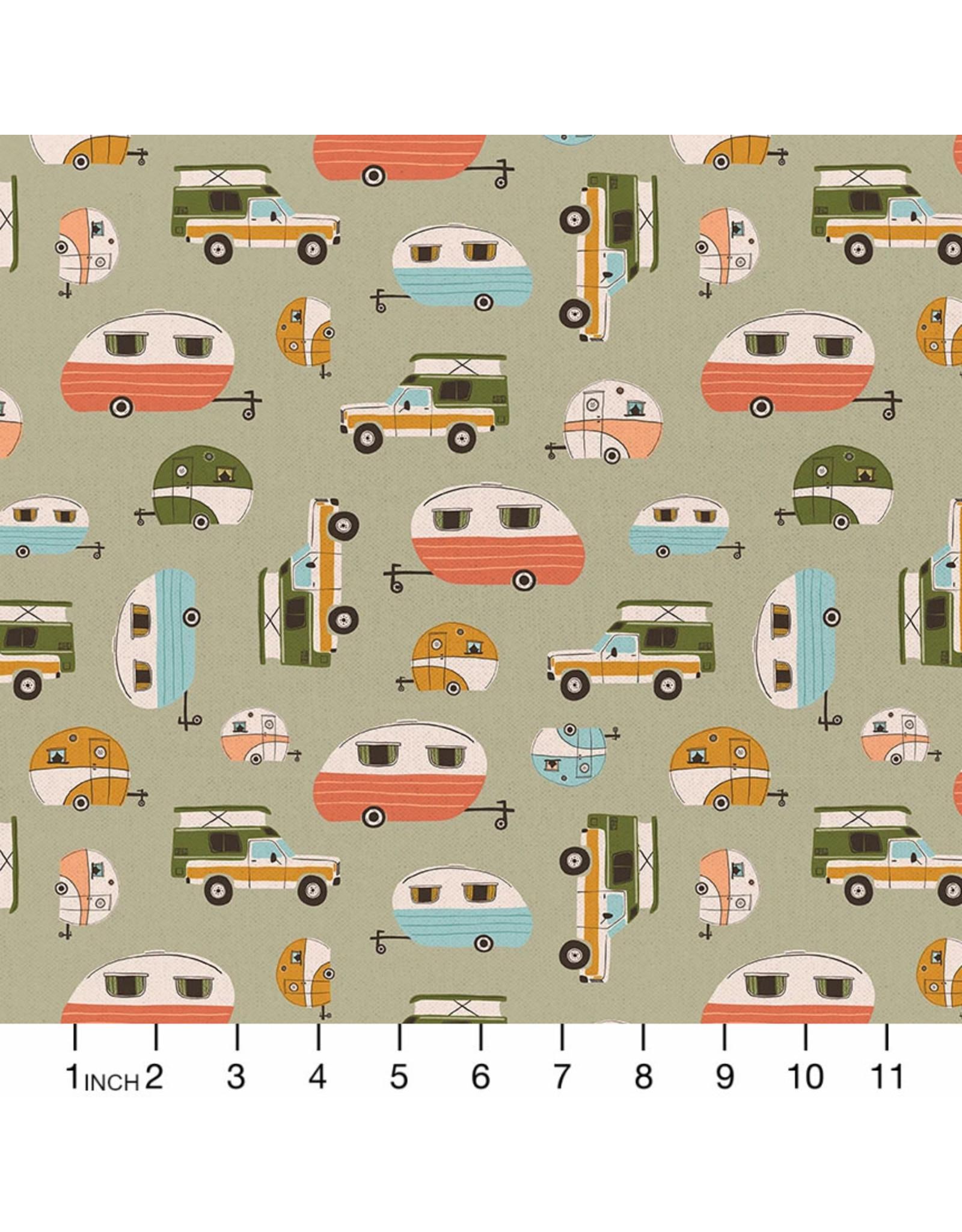 Paintbrush Studio Vintage Camping, Campers in Sage, Fabric Half-Yards