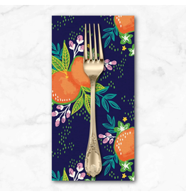 PD's Paintbrush Studio Collection ARRIVING EARLY MAY-Citrus House, Grove Bouquet in Navy, Dinner Napkin