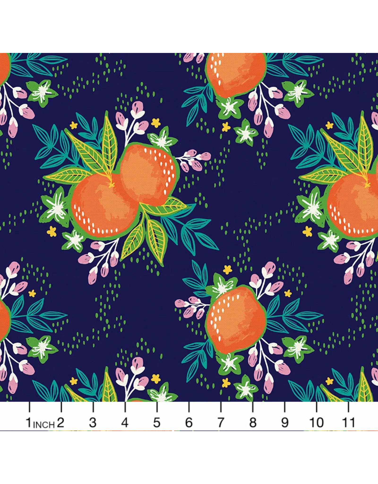 PD's Paintbrush Studio Collection Citrus House, Grove Bouquet in Navy, Dinner Napkin
