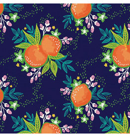 Paintbrush Studio ARRIVING EARLY MAY-Citrus House, Grove Bouquet in Navy, Fabric Half-Yards