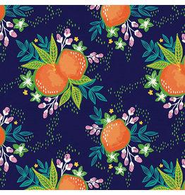Paintbrush Studio Citrus House, Grove Bouquet in Navy, Fabric Half-Yards