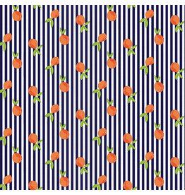 Paintbrush Studio Citrus House, Citrus Stripe in Orange and Navy, Fabric Half-Yards