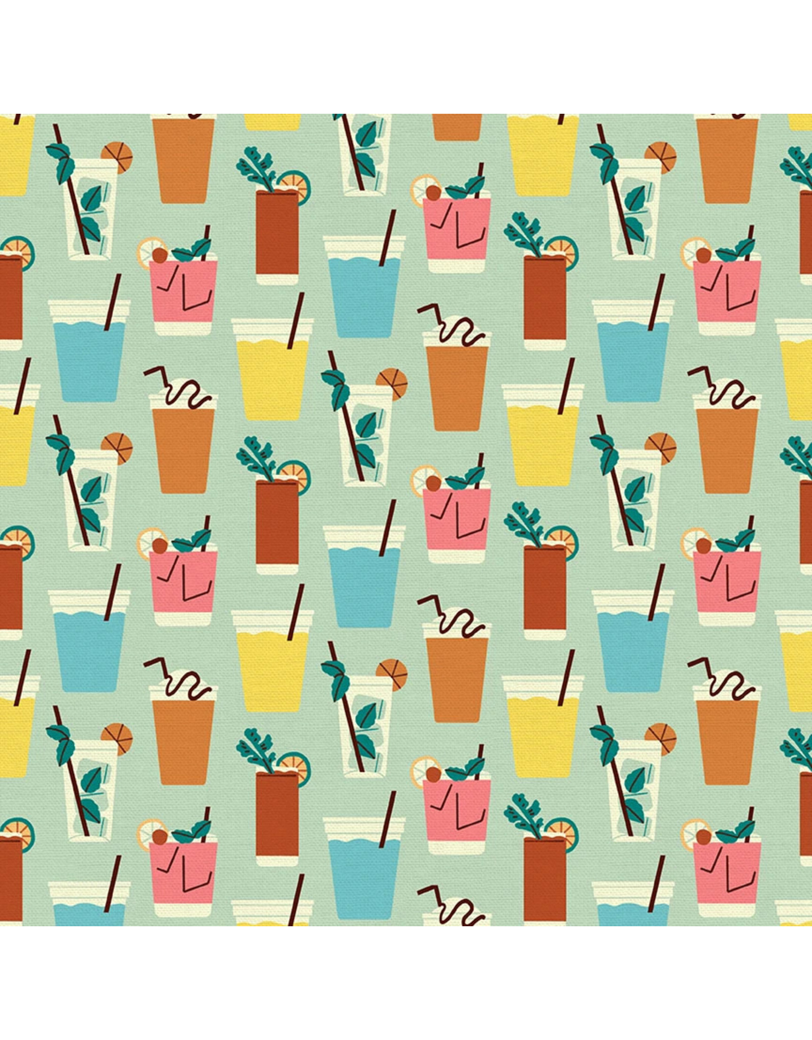Paintbrush Studio Food Truck, Drinks in Light Turquoise, Fabric Half-Yards