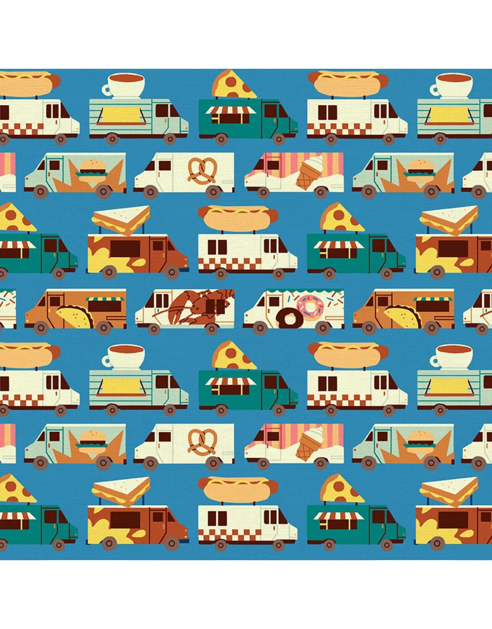 Paintbrush Studio Food Truck, Truck Stripe in Blue, Fabric Half-Yards