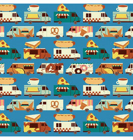 Paintbrush Studio Food Truck, Truck Stripe in Blue, Fabric Half-Yards