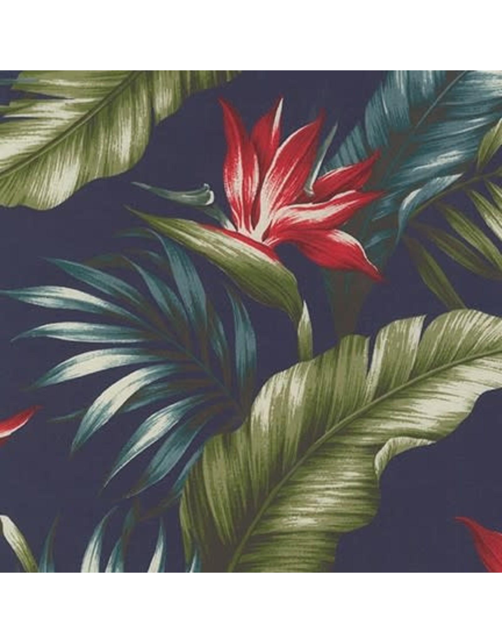 Sevenberry Rayon Lawn, Ecovero Aloha Prints, Bird of Paradise in Navy, Fabric Half-Yards
